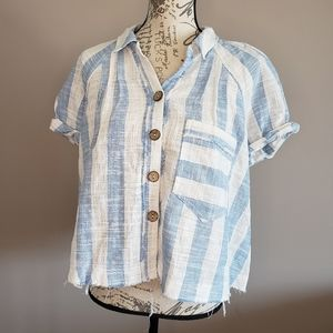 Free People Blue Skies Button Up Shirt. NWT